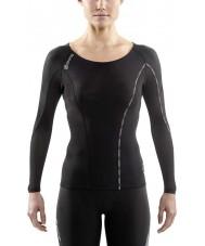 Skins DA99060059240FL Parte superior das senhoras da luva preta e compressão limoncello longo dnamic - tamanho l