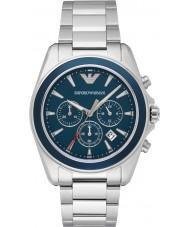 df95eecd0070a Emporio Armani AR6091 Mens de prata azul esportes relógio cronógrafo