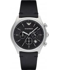 c8f6c56702269 Emporio Armani AR1975 vestido Mens couro preto relógio pulseira
